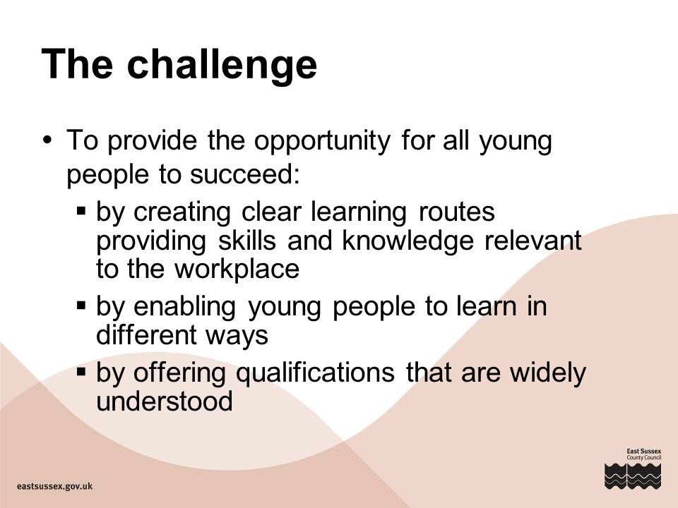 The challenge  To provide the opportunity for all young people to succeed:  by creating clear learning routes providing skills and knowledge relevant to the workplace  by enabling young people to learn in different ways  by offering qualifications that are widely understood