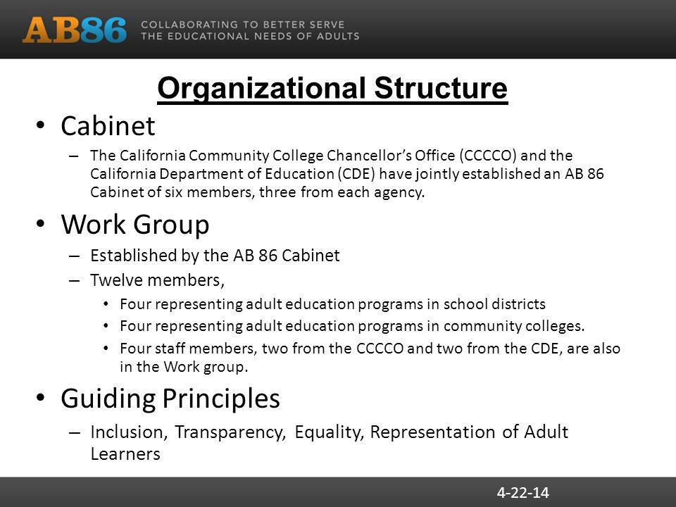 Organizational Structure Cabinet – The California Community College Chancellor's Office (CCCCO) and the California Department of Education (CDE) have jointly established an AB 86 Cabinet of six members, three from each agency.