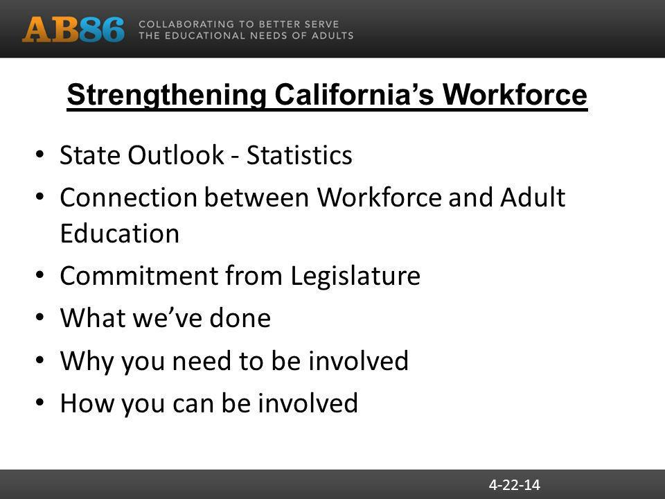 Strengthening California's Workforce State Outlook - Statistics Connection between Workforce and Adult Education Commitment from Legislature What we've done Why you need to be involved How you can be involved