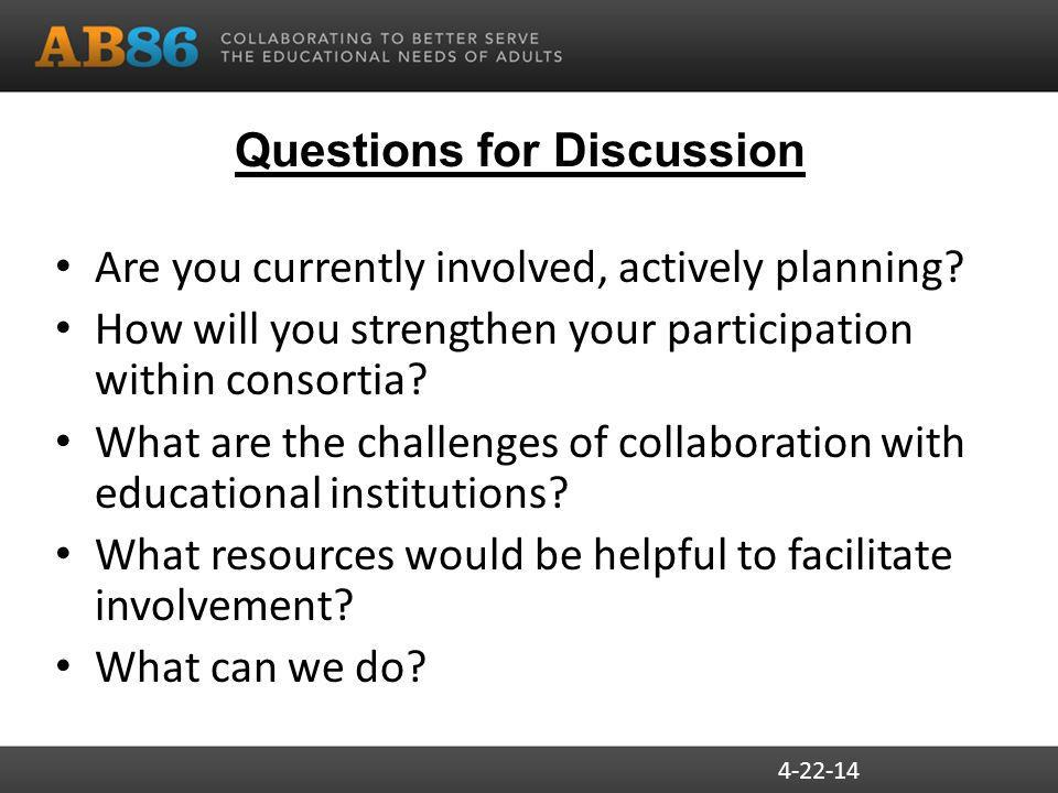 Questions for Discussion Are you currently involved, actively planning.