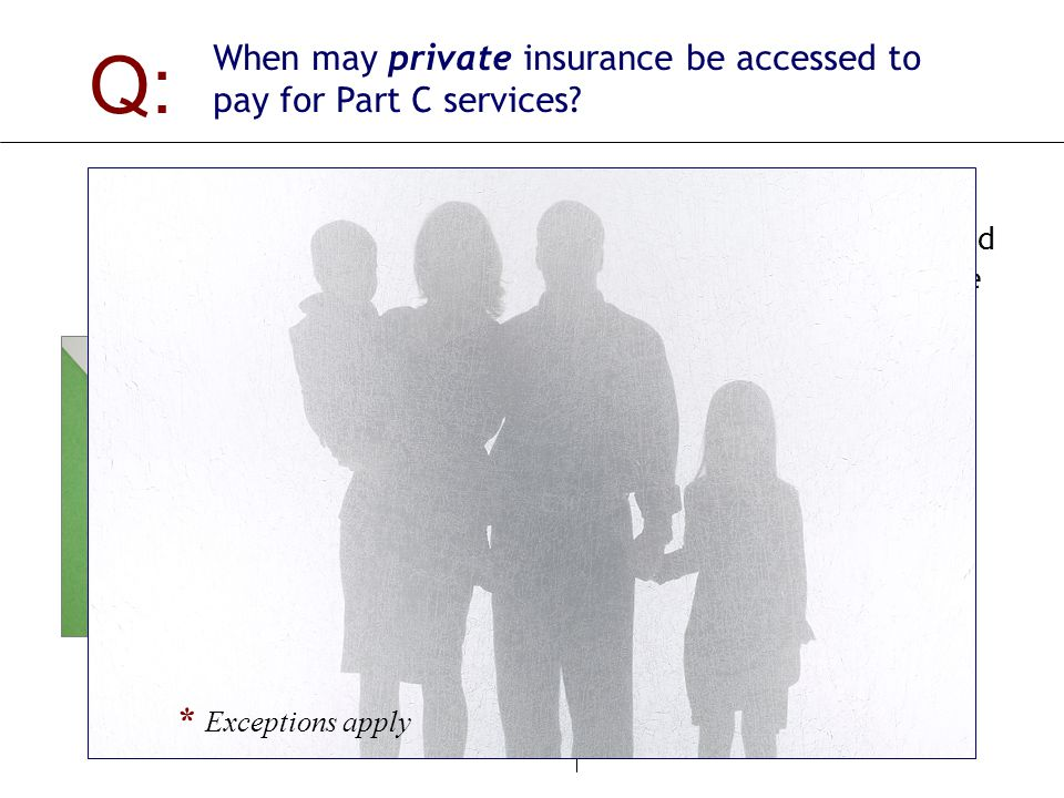 Q: When may private insurance be accessed to pay for Part C services.