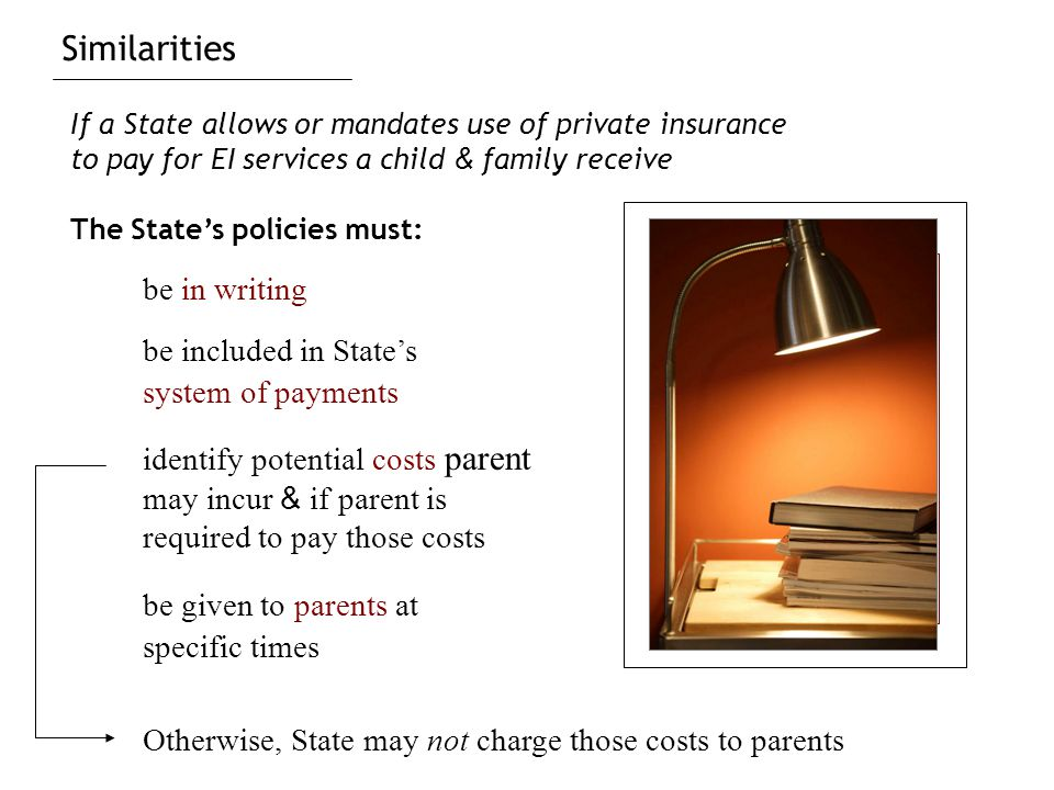 Similarities be in writing be given to parents at specific times identify potential costs parent may incur & if parent is required to pay those costs If a State allows or mandates use of private insurance to pay for EI services a child & family receive The State's policies must: be included in State's system of payments Otherwise, State may not charge those costs to parents