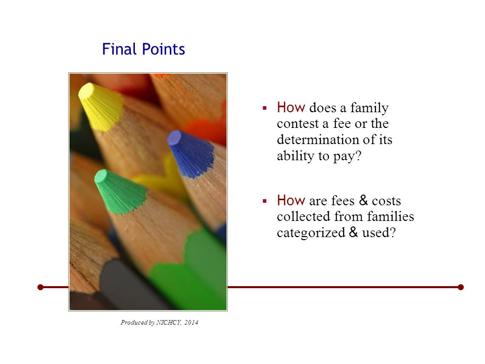 Final Points  How are fees & costs collected from families categorized & used.