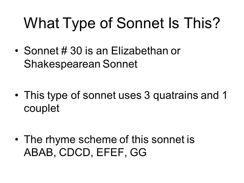 what is the theme of sonnet 30
