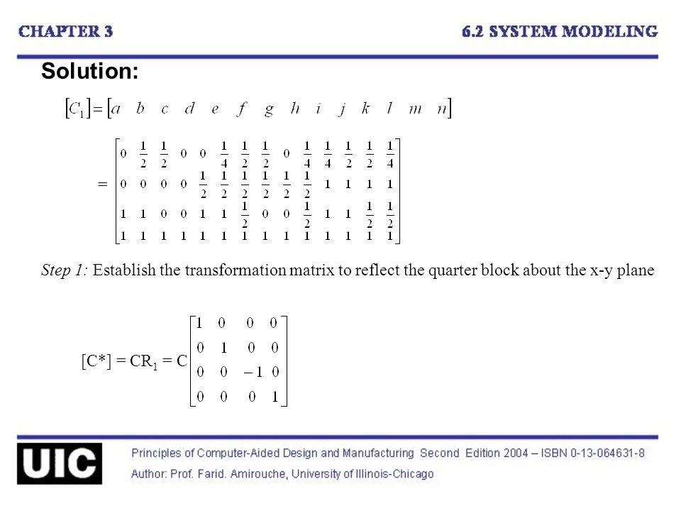 Solution: Step 1: Establish the transformation matrix to reflect the quarter block about the x-y plane [C*] = CR 1 = C =