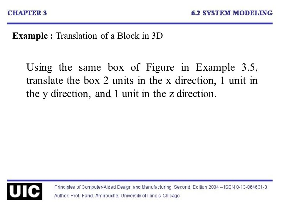 Example : Translation of a Block in 3D Using the same box of Figure in Example 3.5, translate the box 2 units in the x direction, 1 unit in the y direction, and 1 unit in the z direction.