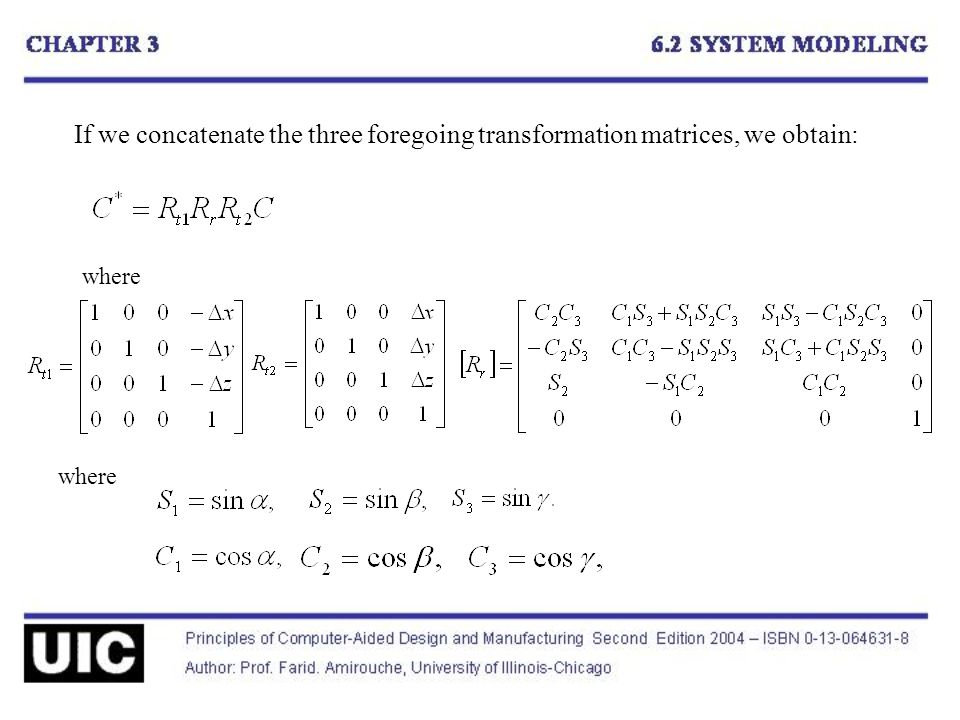 If we concatenate the three foregoing transformation matrices, we obtain: where