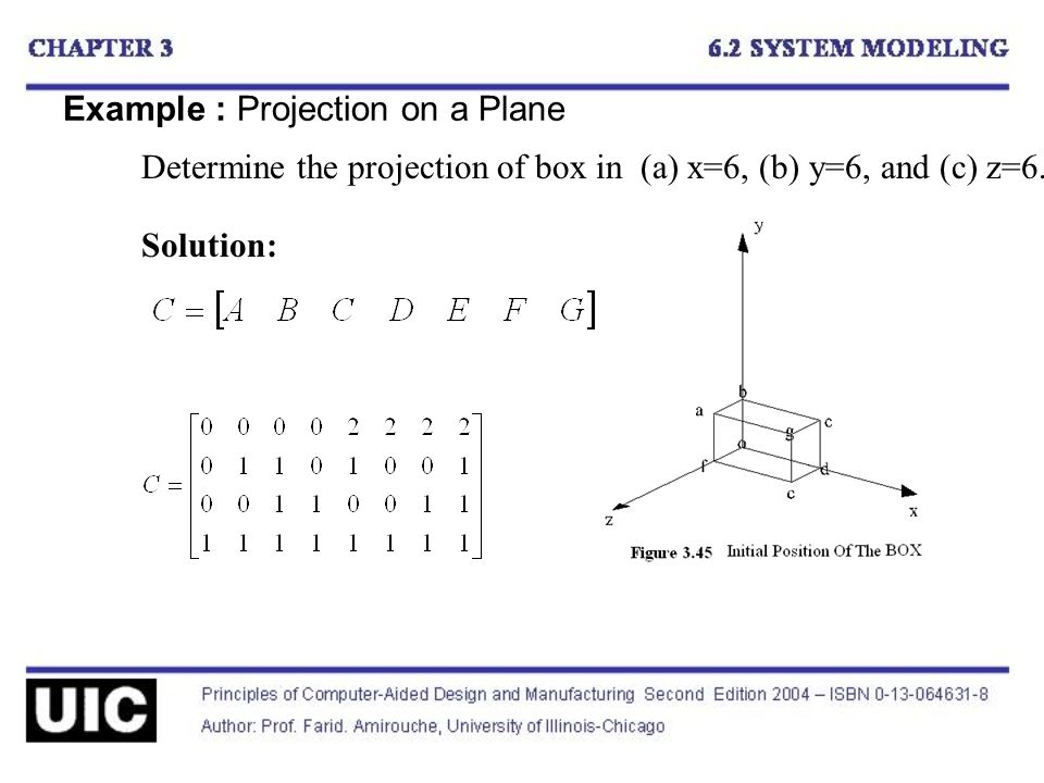 Example : Projection on a Plane Determine the projection of box in (a) x=6, (b) y=6, and (c) z=6.