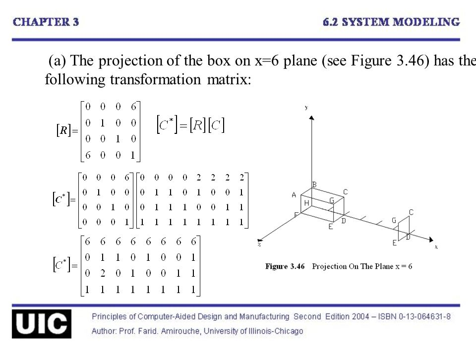 (a) The projection of the box on x=6 plane (see Figure 3.46) has the following transformation matrix: