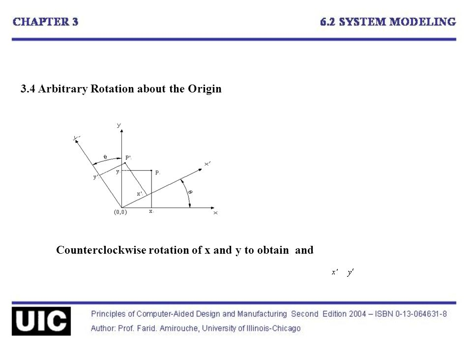 3.4 Arbitrary Rotation about the Origin Counterclockwise rotation of x and y to obtain and