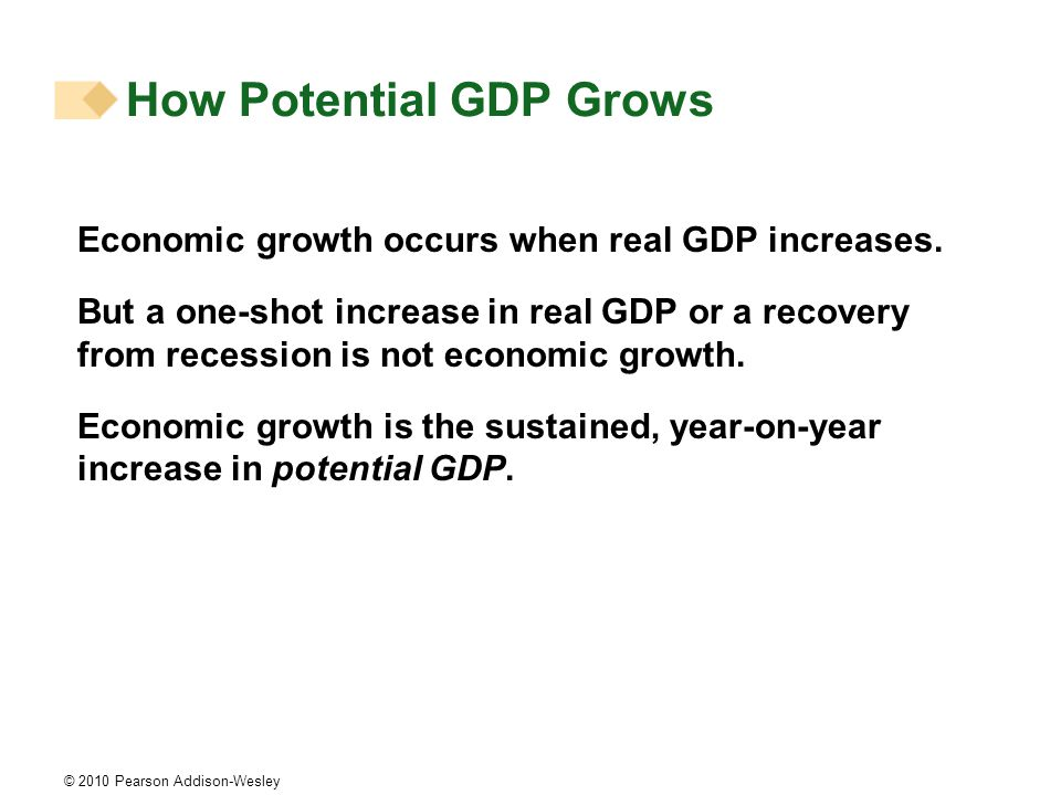 © 2010 Pearson Addison-Wesley How Potential GDP Grows Economic growth occurs when real GDP increases.