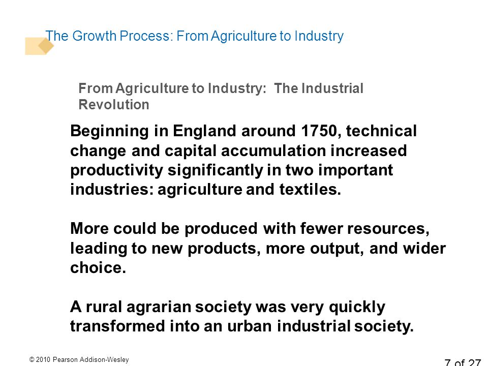 © 2010 Pearson Addison-Wesley 7 of 27 The Growth Process: From Agriculture to Industry Beginning in England around 1750, technical change and capital accumulation increased productivity significantly in two important industries: agriculture and textiles.