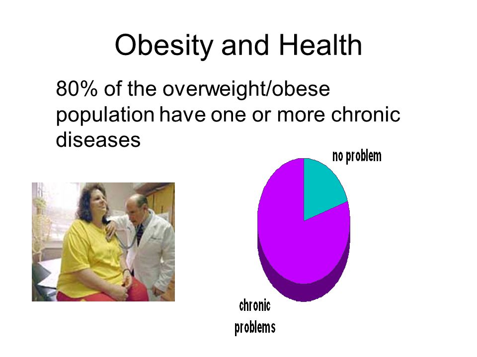 Obesity and Health 80% of the overweight/obese population have one or more chronic diseases