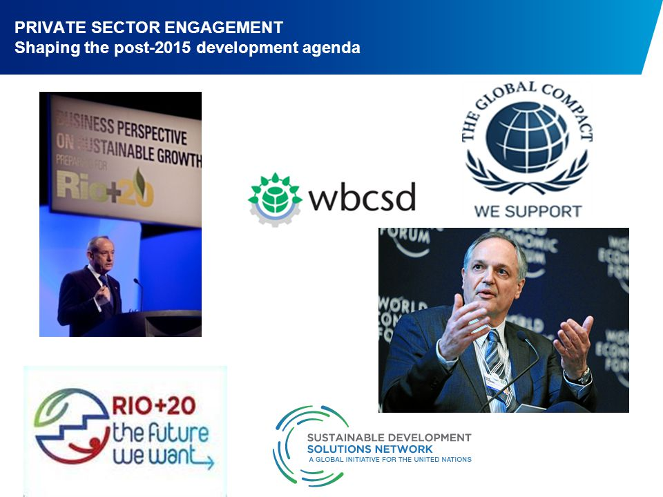 PRIVATE SECTOR ENGAGEMENT Shaping the post-2015 development agenda