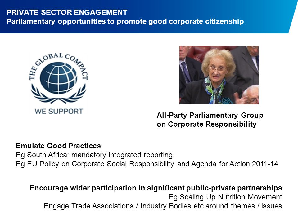PRIVATE SECTOR ENGAGEMENT Parliamentary opportunities to promote good corporate citizenship All-Party Parliamentary Group on Corporate Responsibility Emulate Good Practices Eg South Africa: mandatory integrated reporting Eg EU Policy on Corporate Social Responsibility and Agenda for Action Encourage wider participation in significant public-private partnerships Eg Scaling Up Nutrition Movement Engage Trade Associations / Industry Bodies etc around themes / issues