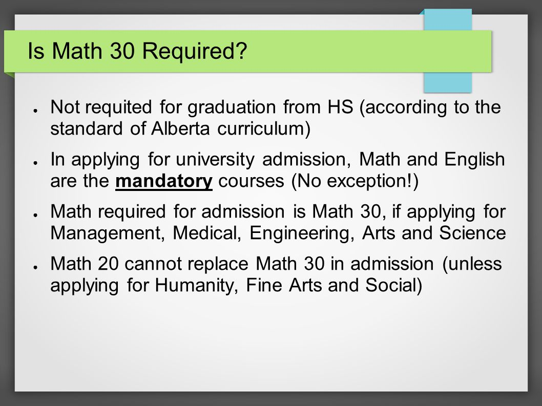 Is Math 30 Required.