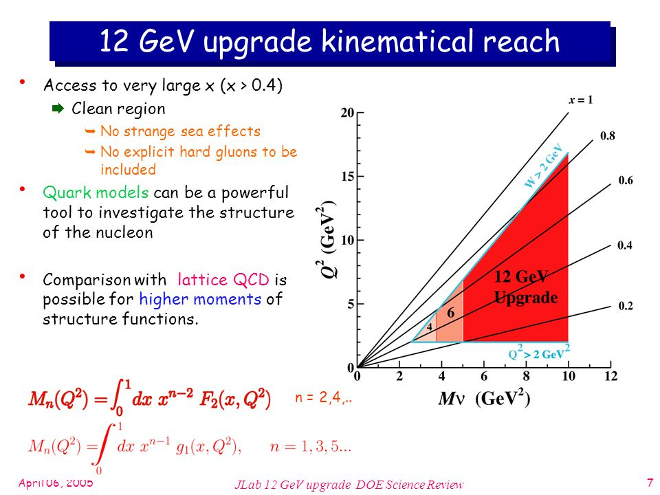 April 06, 2005 JLab 12 GeV upgrade DOE Science Review 7 12 GeV upgrade kinematical reach Access to very large x (x > 0.4)  Clean region  No strange sea effects  No explicit hard gluons to be included Quark models can be a powerful tool to investigate the structure of the nucleon Comparison with lattice QCD is possible for higher moments of structure functions.