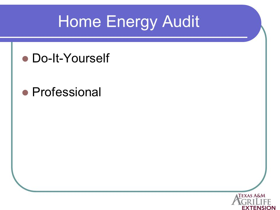 Home Energy Audit Do-It-Yourself Professional