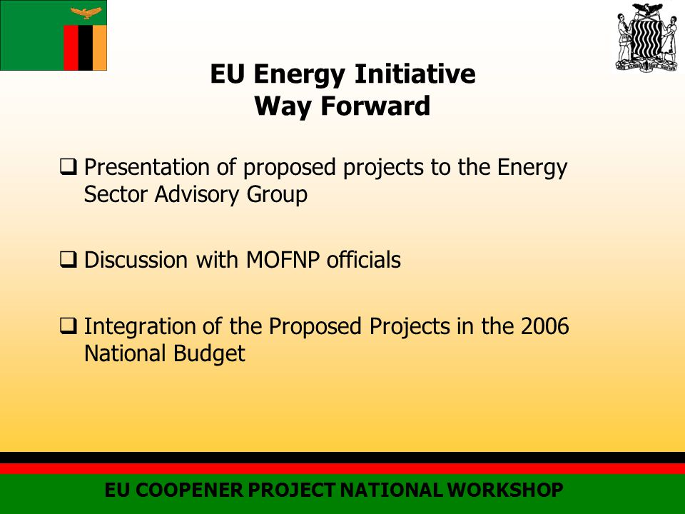 EU Energy Initiative Way Forward  Presentation of proposed projects to the Energy Sector Advisory Group  Discussion with MOFNP officials  Integration of the Proposed Projects in the 2006 National Budget EU COOPENER PROJECT NATIONAL WORKSHOP