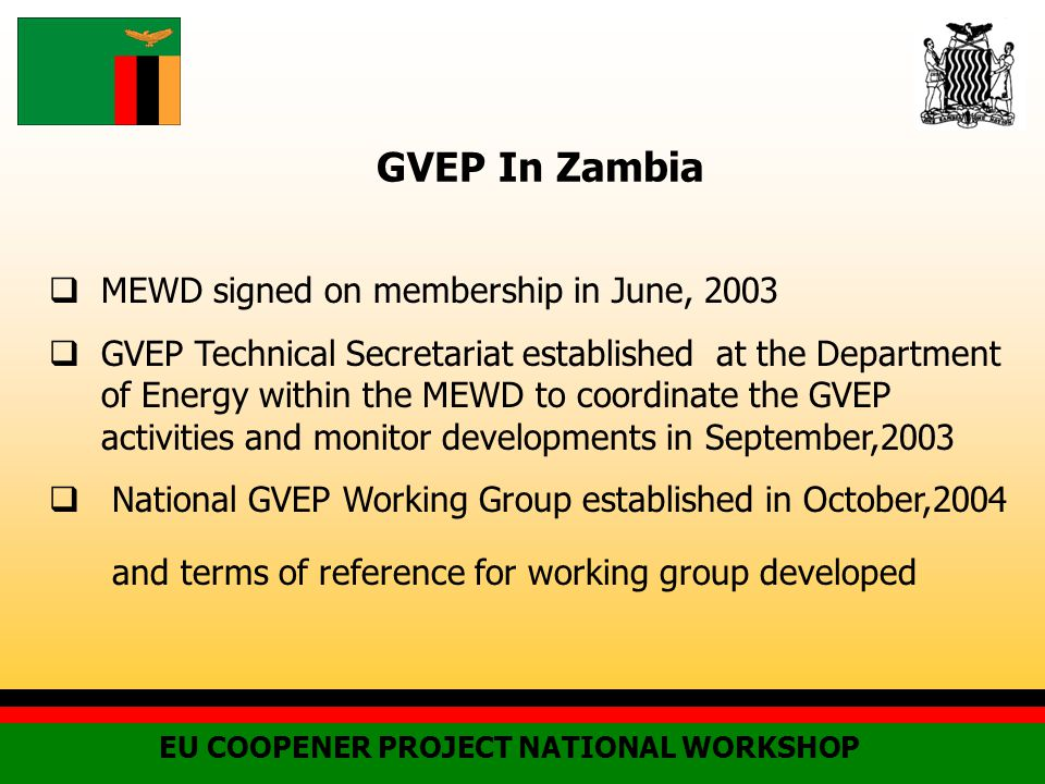 GVEP In Zambia EU COOPENER PROJECT NATIONAL WORKSHOP  MEWD signed on membership in June, 2003  GVEP Technical Secretariat established at the Department of Energy within the MEWD to coordinate the GVEP activities and monitor developments in September,2003  National GVEP Working Group established in October,2004 and terms of reference for working group developed
