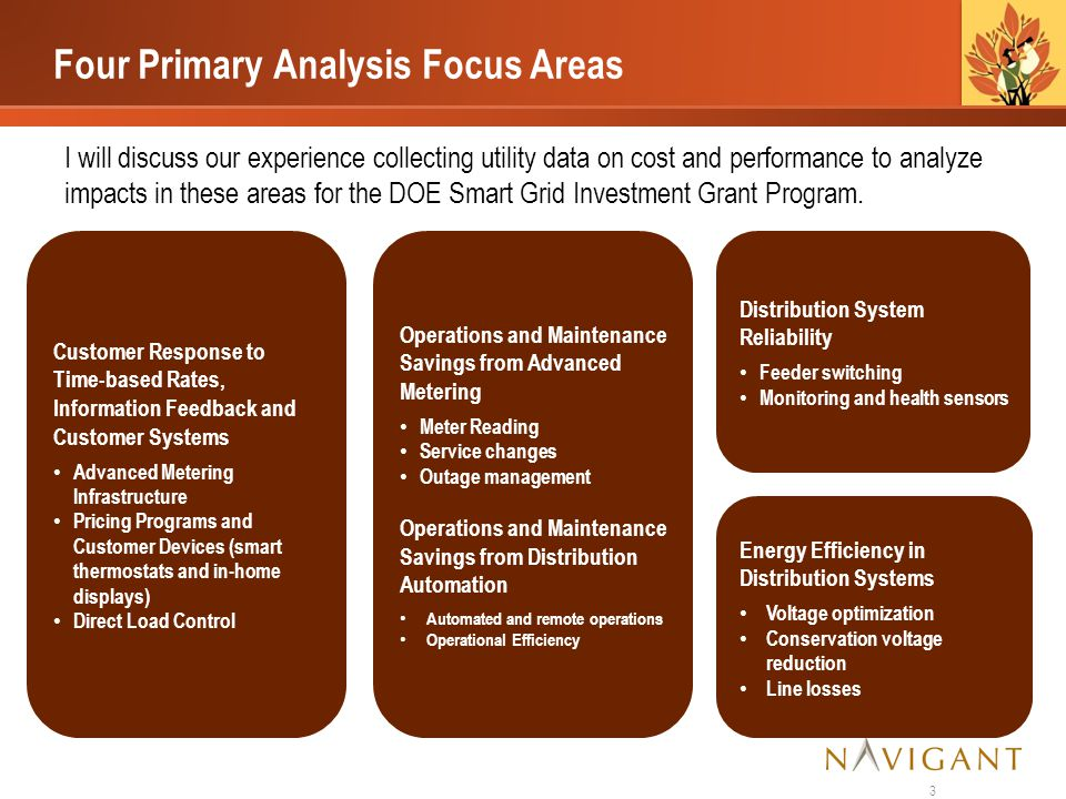Four Primary Analysis Focus Areas I will discuss our experience collecting utility data on cost and performance to analyze impacts in these areas for the DOE Smart Grid Investment Grant Program.
