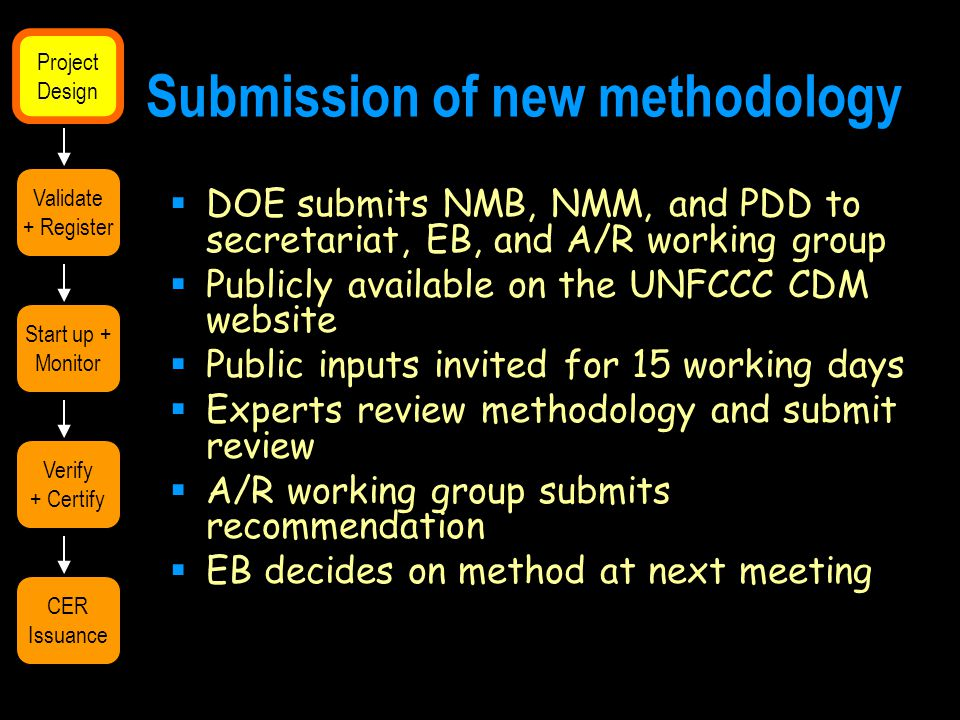 Submission of new methodology  DOE submits NMB, NMM, and PDD to secretariat, EB, and A/R working group  Publicly available on the UNFCCC CDM website  Public inputs invited for 15 working days  Experts review methodology and submit review  A/R working group submits recommendation  EB decides on method at next meeting Validate + Register Start up + Monitor Verify + Certify CER Issuance Project Design