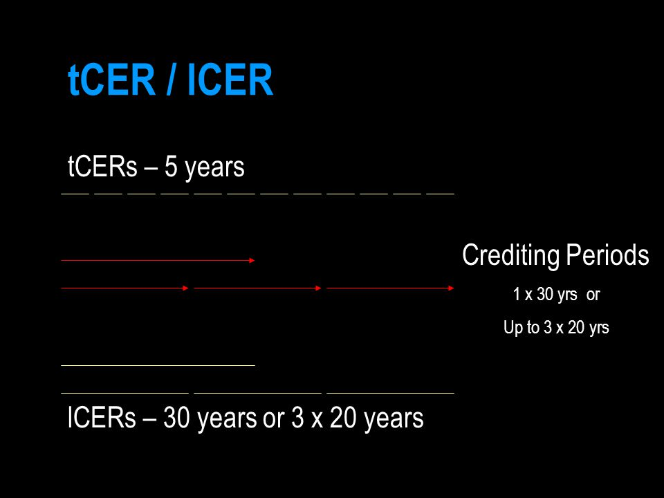 tCER / lCER tCERs – 5 years Crediting Periods 1 x 30 yrs or Up to 3 x 20 yrs lCERs – 30 years or 3 x 20 years