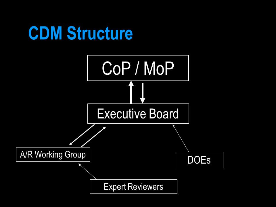 CDM Structure CoP / MoP Executive Board A/R Working Group DOEs Expert Reviewers