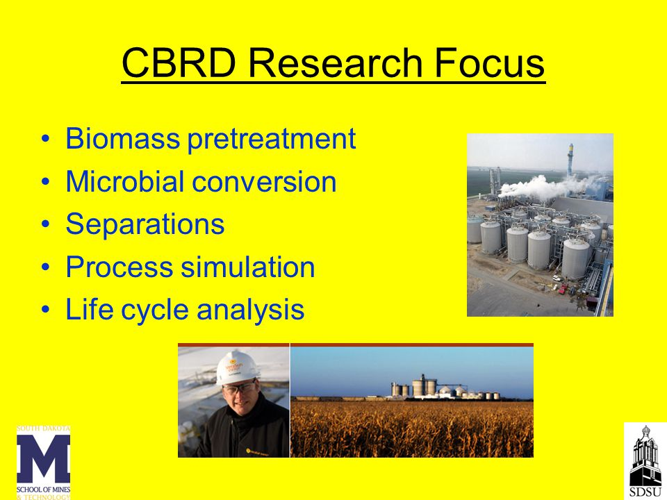 CBRD Research Focus Biomass pretreatment Microbial conversion Separations Process simulation Life cycle analysis