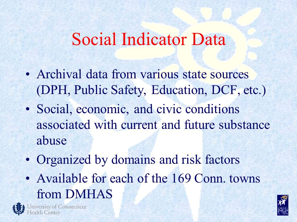 Social Indicator Data Archival data from various state sources (DPH, Public Safety, Education, DCF, etc.) Social, economic, and civic conditions associated with current and future substance abuse Organized by domains and risk factors Available for each of the 169 Conn.
