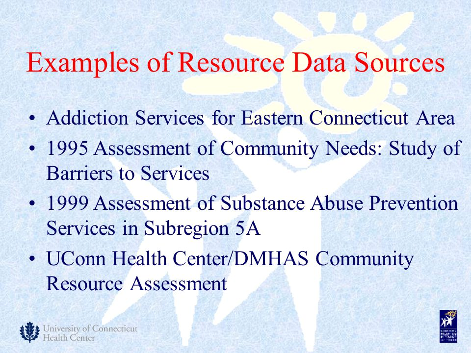 Examples of Resource Data Sources Addiction Services for Eastern Connecticut Area 1995 Assessment of Community Needs: Study of Barriers to Services 1999 Assessment of Substance Abuse Prevention Services in Subregion 5A UConn Health Center/DMHAS Community Resource Assessment