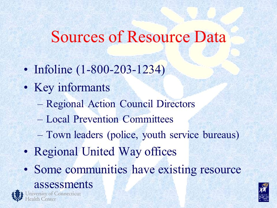 Sources of Resource Data Infoline ( ) Key informants –Regional Action Council Directors –Local Prevention Committees –Town leaders (police, youth service bureaus) Regional United Way offices Some communities have existing resource assessments