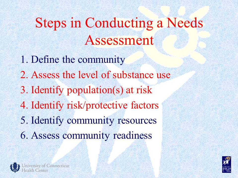 Steps in Conducting a Needs Assessment 1. Define the community 2.