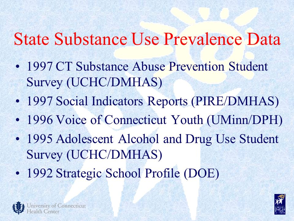 State Substance Use Prevalence Data 1997 CT Substance Abuse Prevention Student Survey (UCHC/DMHAS) 1997 Social Indicators Reports (PIRE/DMHAS) 1996 Voice of Connecticut Youth (UMinn/DPH) 1995 Adolescent Alcohol and Drug Use Student Survey (UCHC/DMHAS) 1992 Strategic School Profile (DOE)