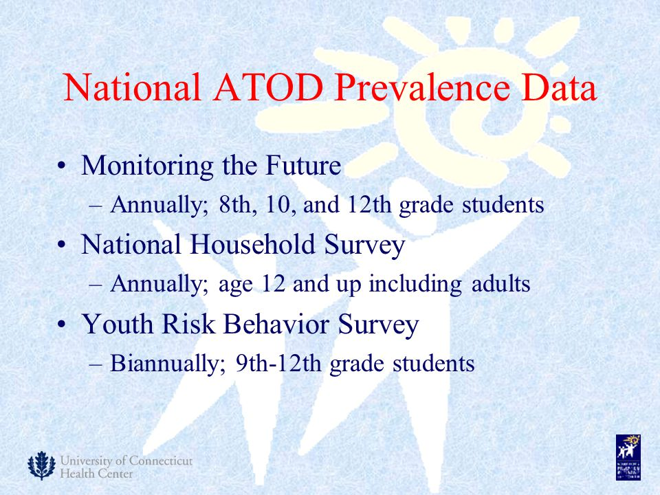 National ATOD Prevalence Data Monitoring the Future –Annually; 8th, 10, and 12th grade students National Household Survey –Annually; age 12 and up including adults Youth Risk Behavior Survey –Biannually; 9th-12th grade students
