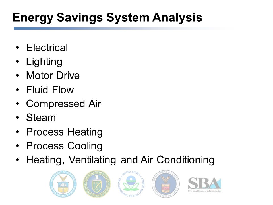 Energy Savings System Analysis Electrical Lighting Motor Drive Fluid Flow Compressed Air Steam Process Heating Process Cooling Heating, Ventilating and Air Conditioning