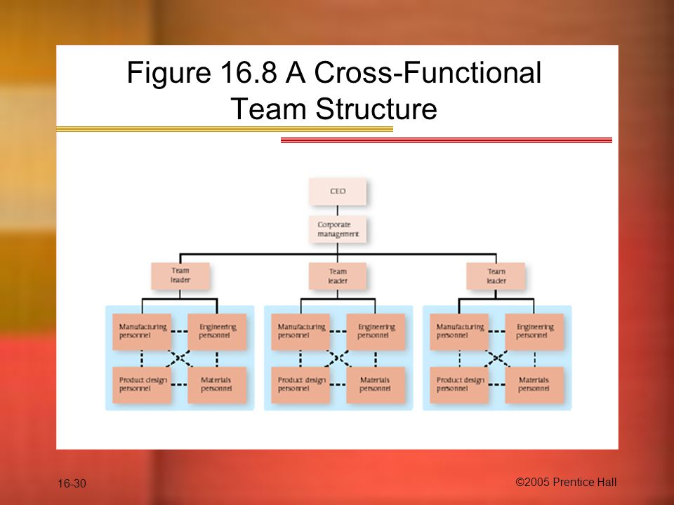 16-30 ©2005 Prentice Hall Figure 16.8 A Cross-Functional Team Structure