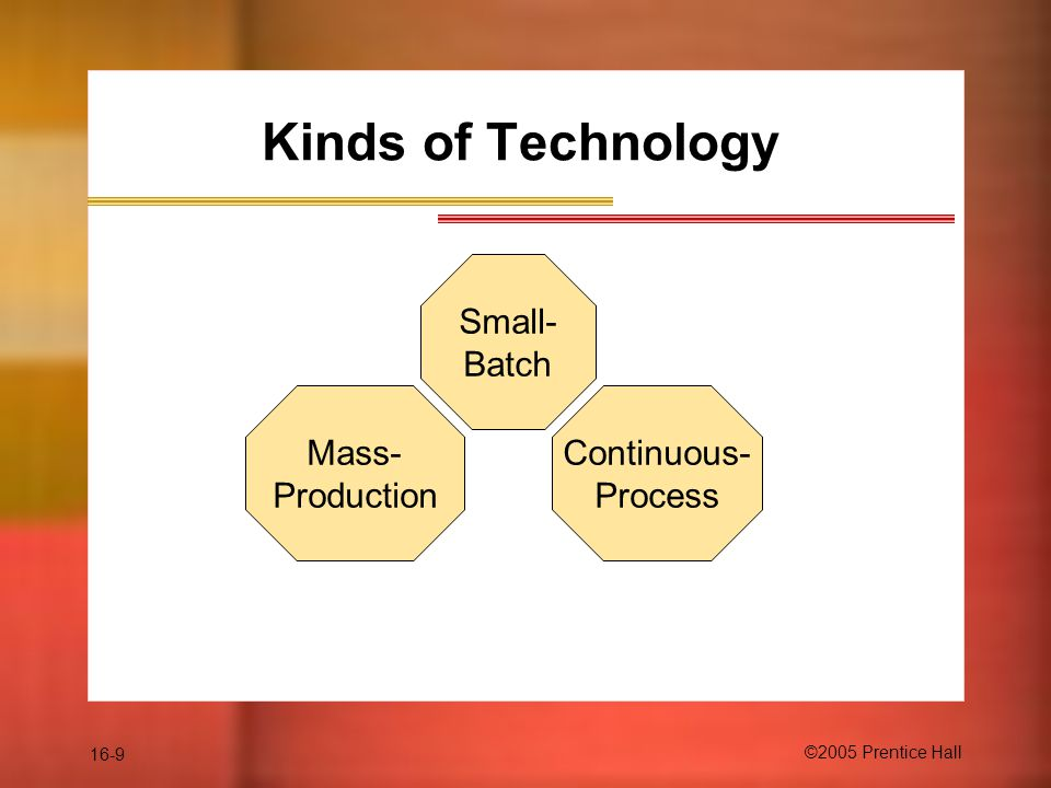 16-9 ©2005 Prentice Hall Kinds of Technology Small- Batch Continuous- Process Mass- Production