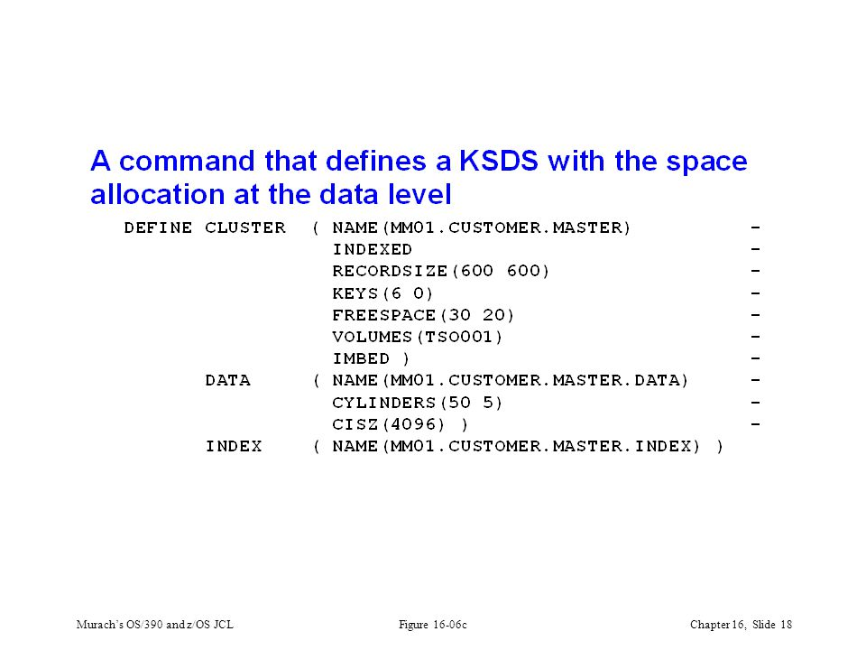 Murach's OS/390 and z/OS JCLChapter 16, Slide 18 Figure 16-06c