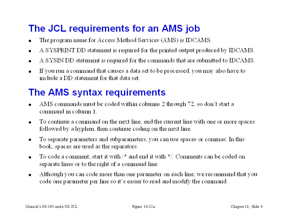 Murach's OS/390 and z/OS JCLChapter 16, Slide 6 Figure 16-02a