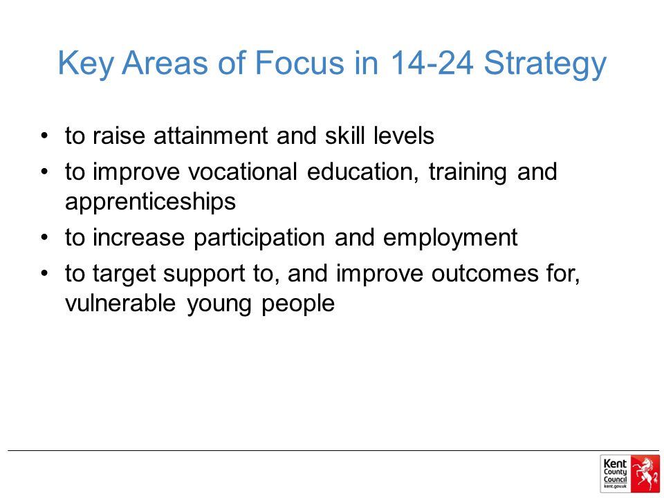 Key Areas of Focus in Strategy to raise attainment and skill levels to improve vocational education, training and apprenticeships to increase participation and employment to target support to, and improve outcomes for, vulnerable young people