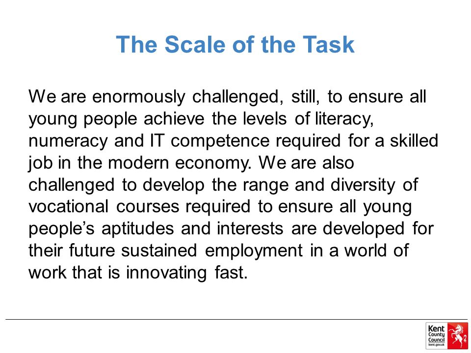 The Scale of the Task We are enormously challenged, still, to ensure all young people achieve the levels of literacy, numeracy and IT competence required for a skilled job in the modern economy.