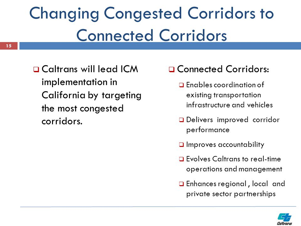 Changing Congested Corridors to Connected Corridors  Caltrans will lead ICM implementation in California by targeting the most congested corridors.