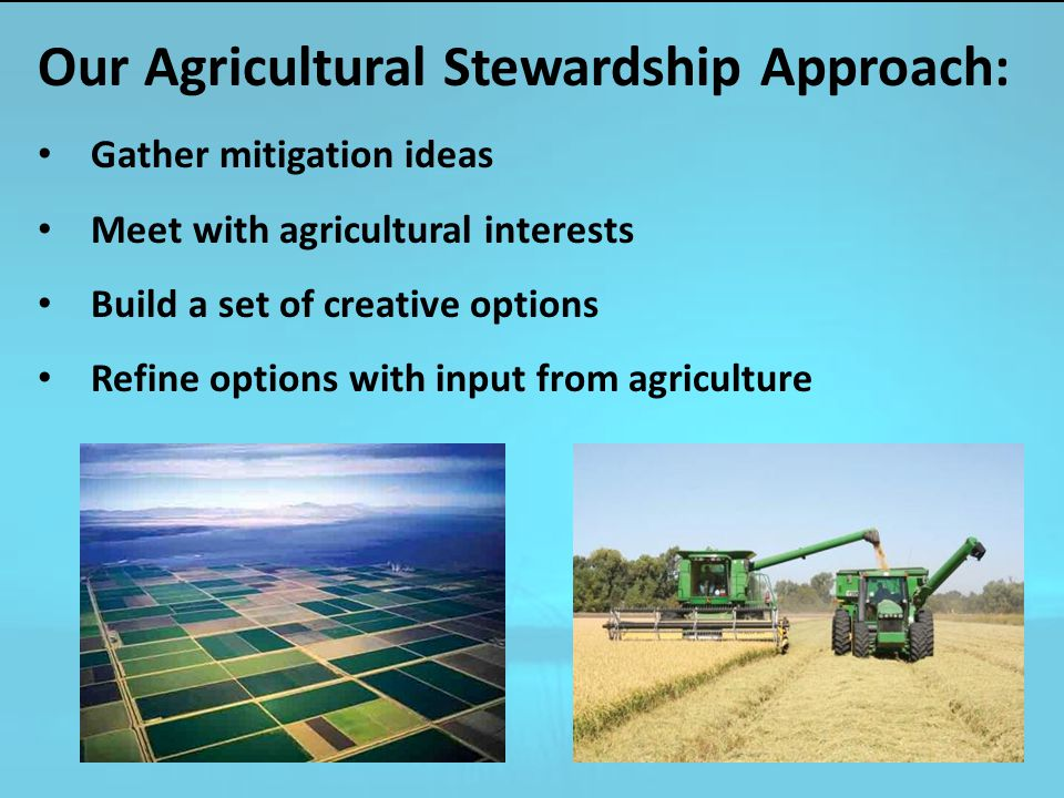 Our Agricultural Stewardship Approach: Gather mitigation ideas Meet with agricultural interests Build a set of creative options Refine options with input from agriculture