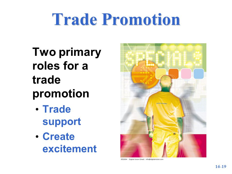 16-19 Trade Promotion Two primary roles for a trade promotion Trade support Create excitement