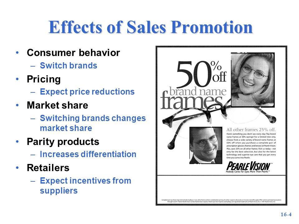 16-4 Effects of Sales Promotion Consumer behavior –Switch brands Pricing –Expect price reductions Market share –Switching brands changes market share Parity products –Increases differentiation Retailers –Expect incentives from suppliers