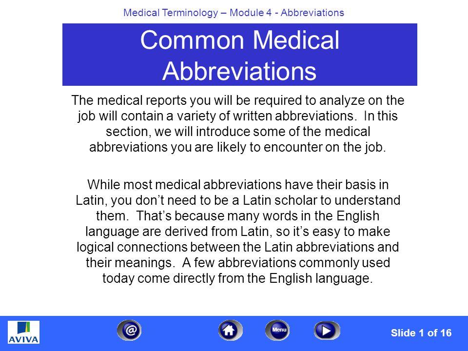 Menu Medical Terminology Module 4