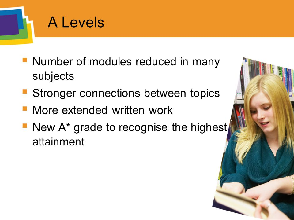 A Levels  Number of modules reduced in many subjects  Stronger connections between topics  More extended written work  New A* grade to recognise the highest attainment
