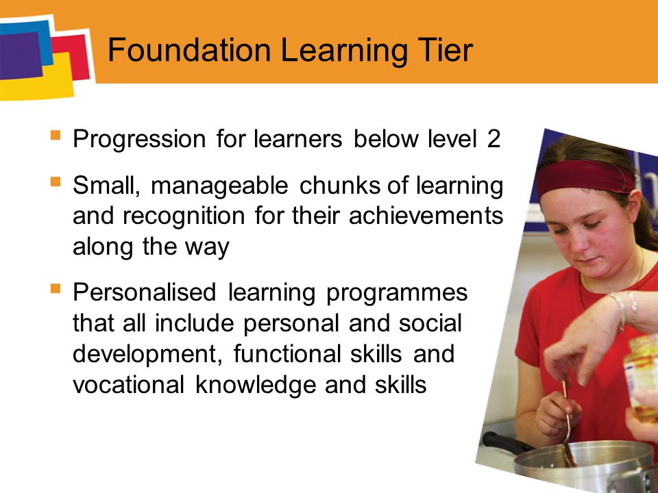 Foundation Learning Tier  Progression for learners below level 2  Small, manageable chunks of learning and recognition for their achievements along the way  Personalised learning programmes that all include personal and social development, functional skills and vocational knowledge and skills