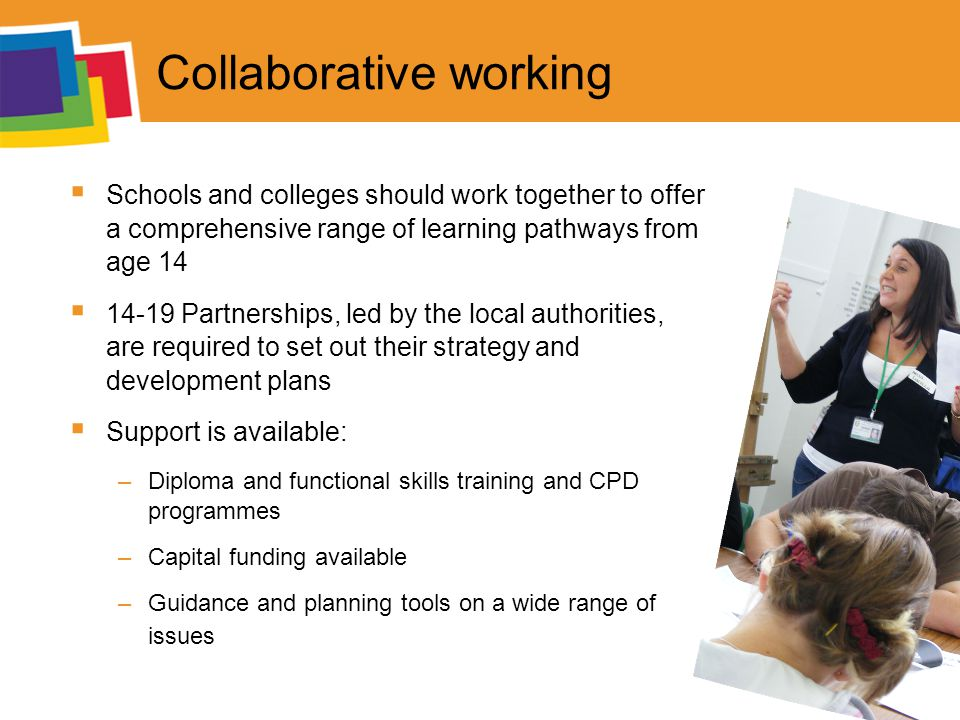 Collaborative working  Schools and colleges should work together to offer a comprehensive range of learning pathways from age 14  Partnerships, led by the local authorities, are required to set out their strategy and development plans  Support is available: –Diploma and functional skills training and CPD programmes –Capital funding available –Guidance and planning tools on a wide range of issues